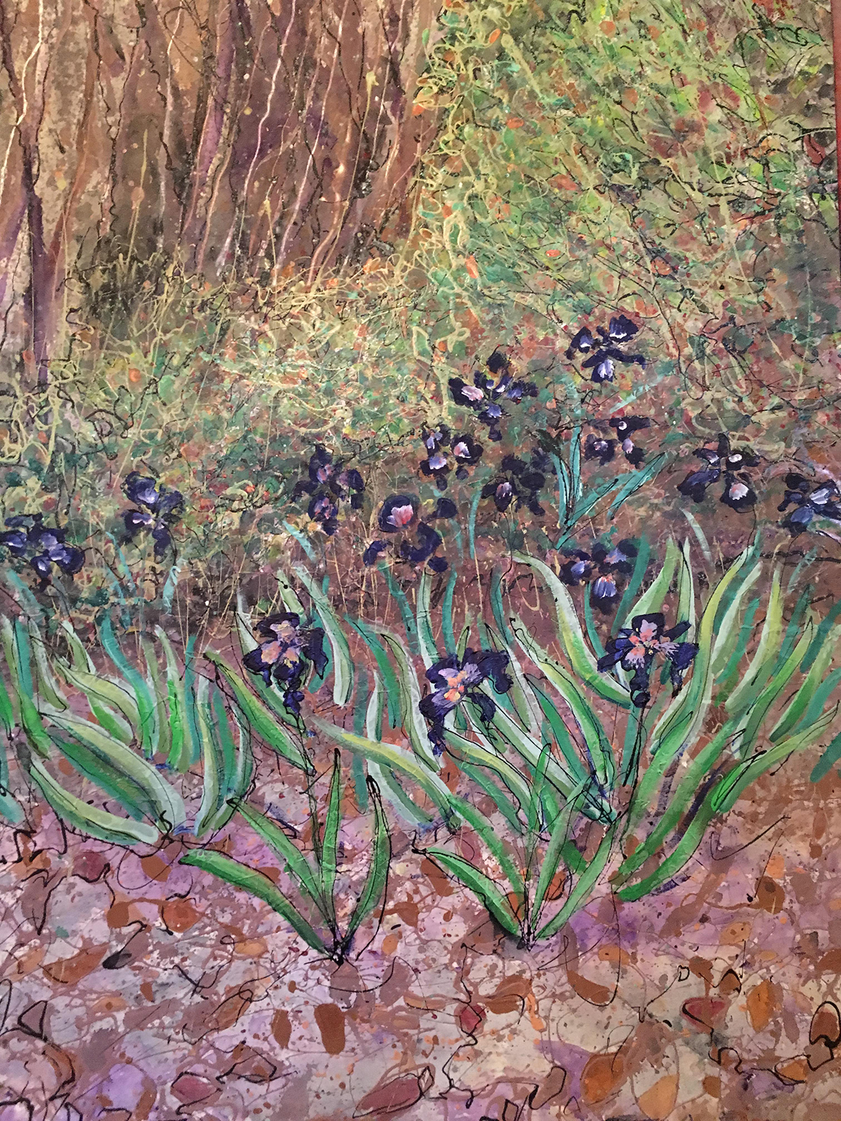 Painting by Keith Patterson. Irises.