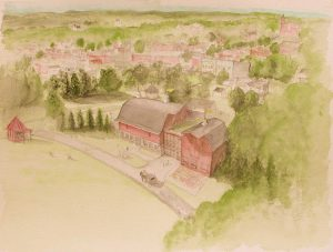 Architectural Watercolor of Barns of Rose Hill by Carter+Burton.